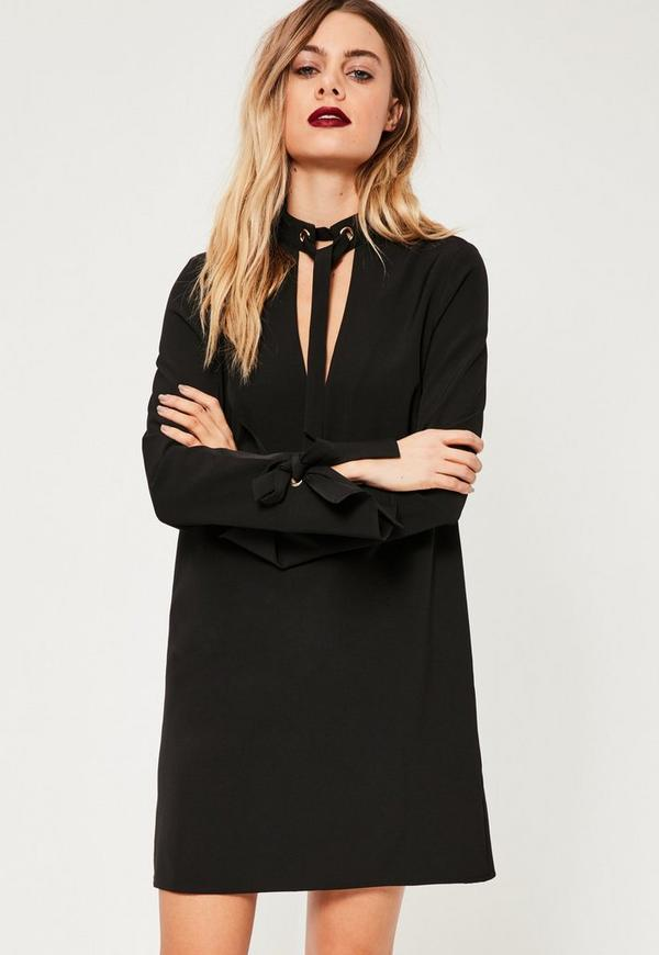 Black Tie Neck and Cuff Shift Dress