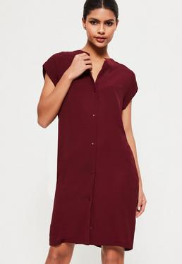 Robe-chemise en crêpe bordeaux