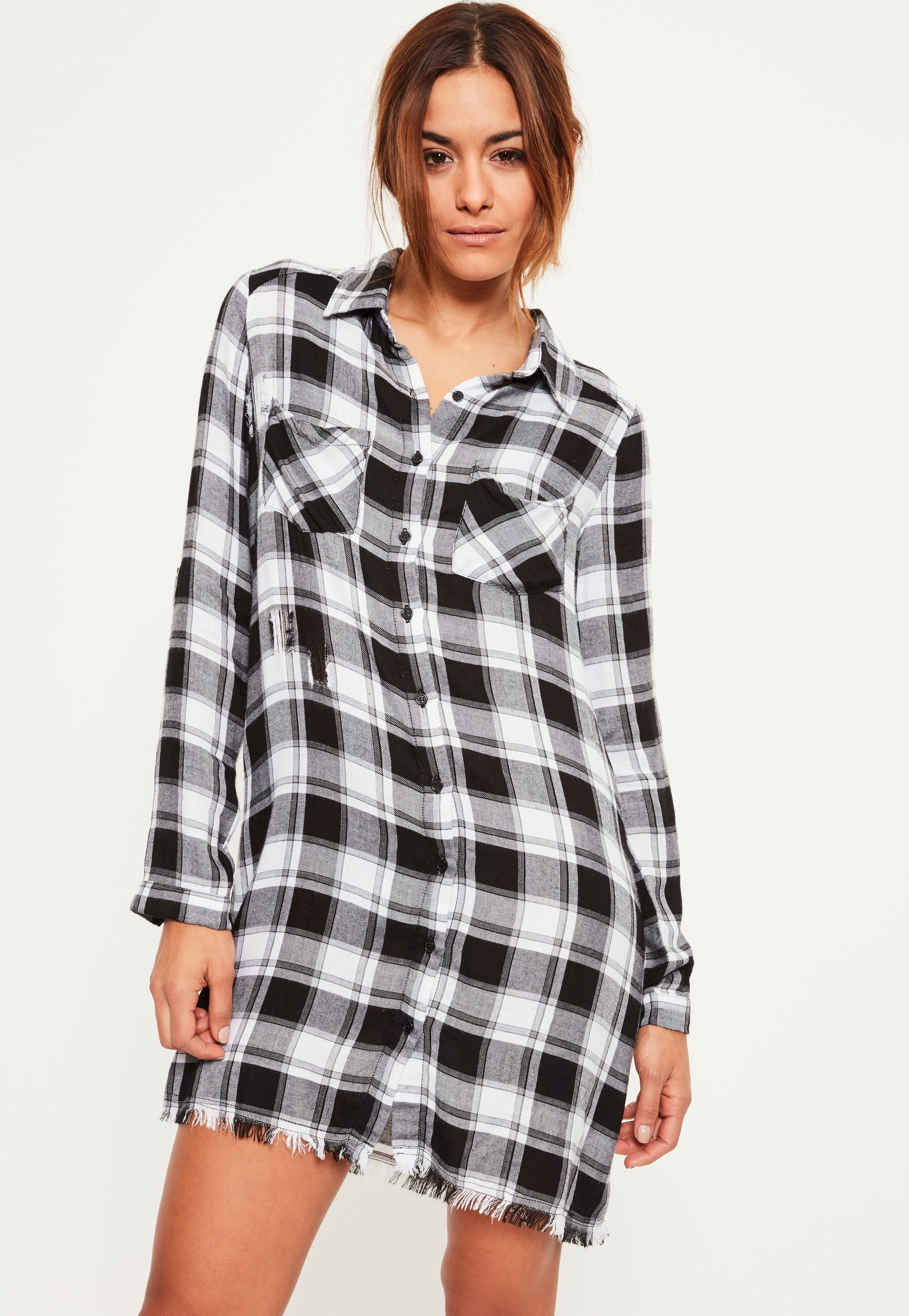 Black Frayed Edge Checked Shirt