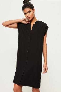 Black Crepe Collarless Shirt Dress