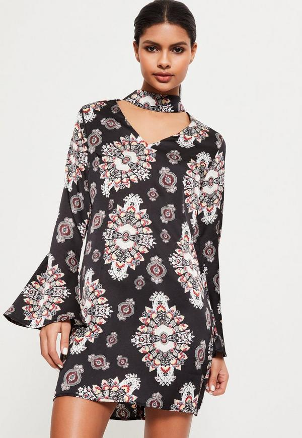Black Print Choker Neck Dress