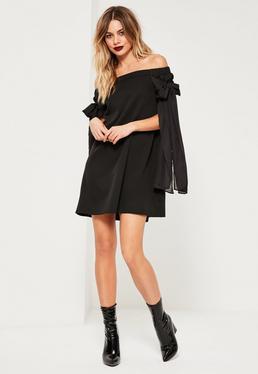 Vestido con Vuelo Escote Bardot con detalle de Lazos en Negro