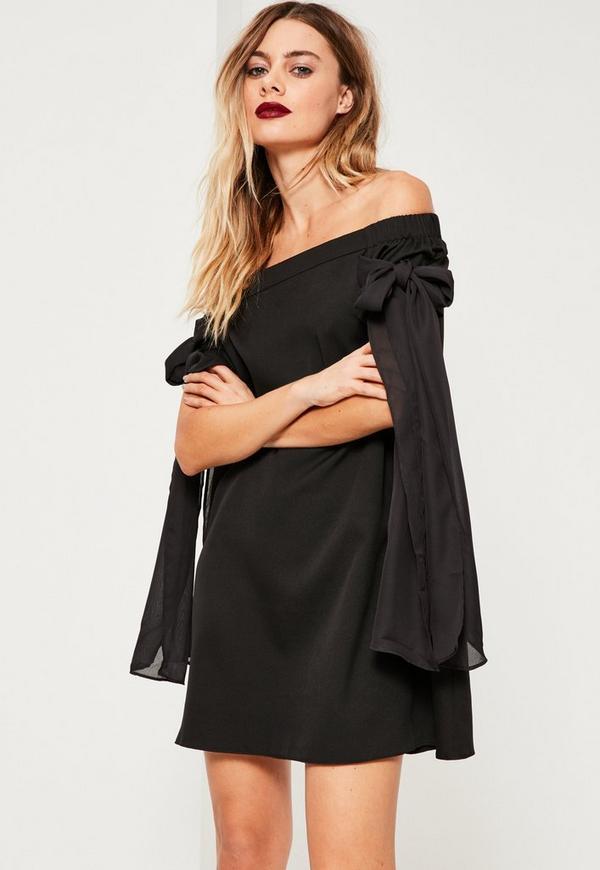 schulterfreies swing kleid mit schleifenschn rungen in schwarz missguided. Black Bedroom Furniture Sets. Home Design Ideas