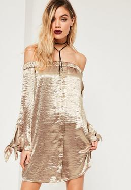 Gold Shiny Satin Bardot Button Dress