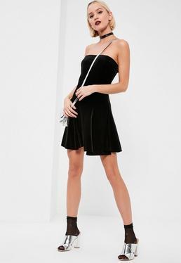 Black Velvet Bandeau Swing Dress