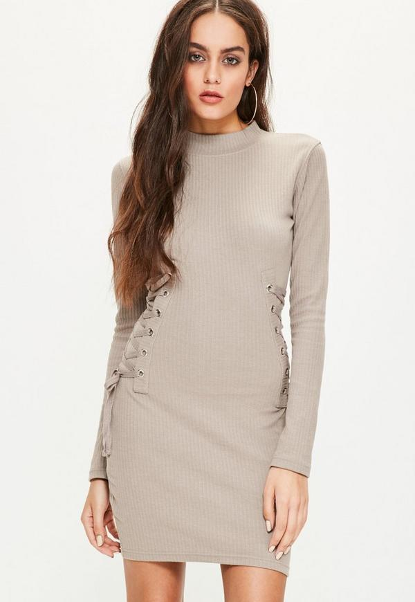 Brown High Neck Lace Up Side Dress