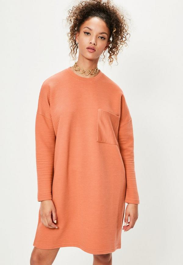 Orange Ribbed Pocket Jumper Dress