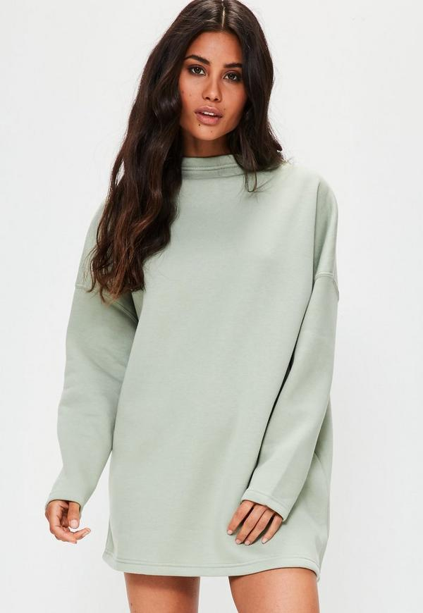 Green High Neck Sweater Dress