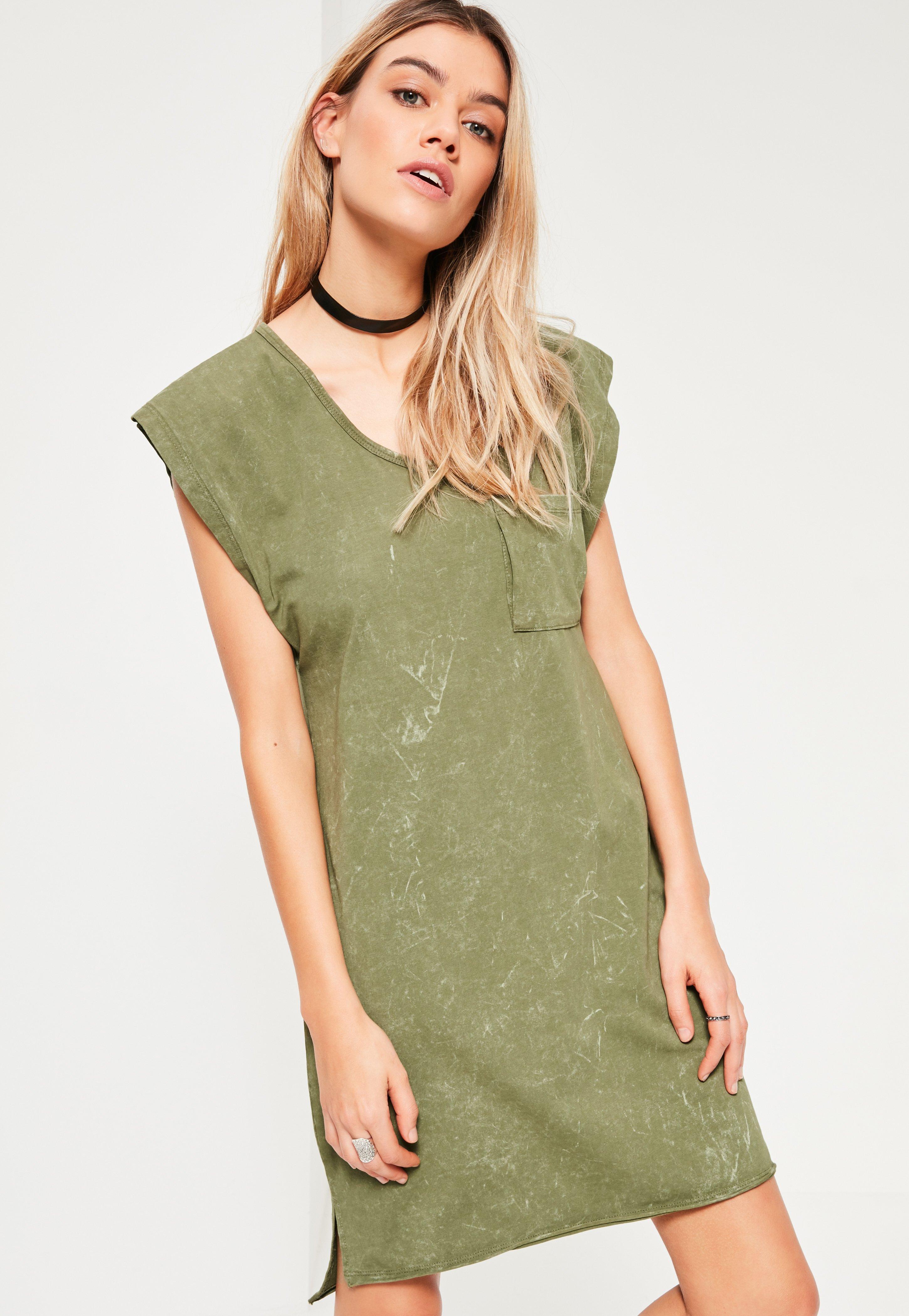 Khaki Wash Pocket Oversized Dress
