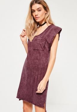 Burgundy Wash Pocket Oversized Dress