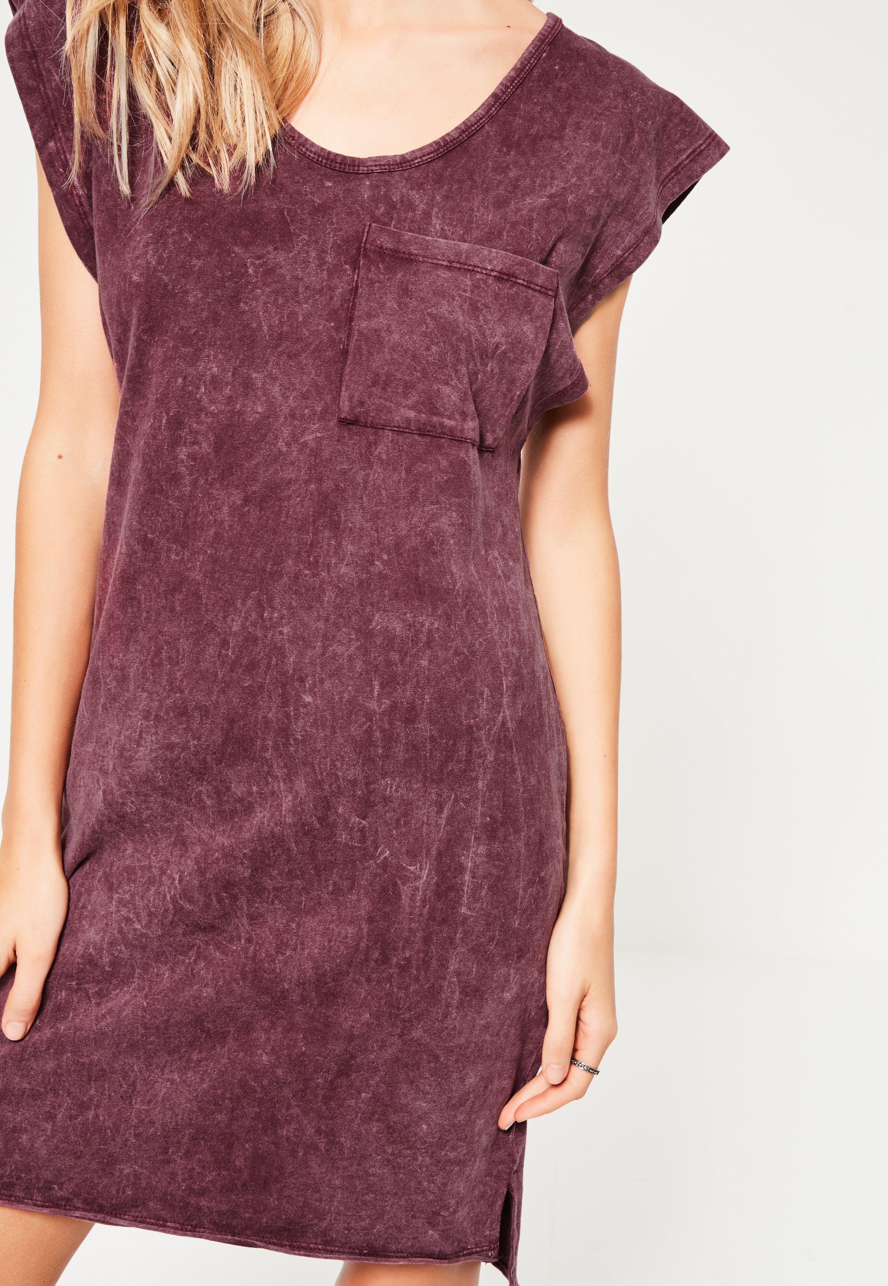 Burgundy Wash Pocket Oversized Dress