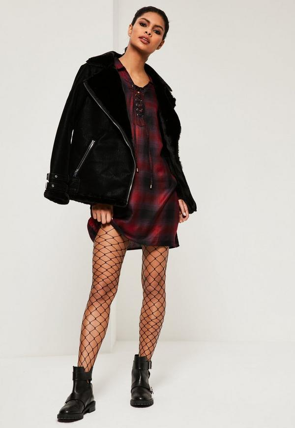Red Lace Up Check Shirt Dress