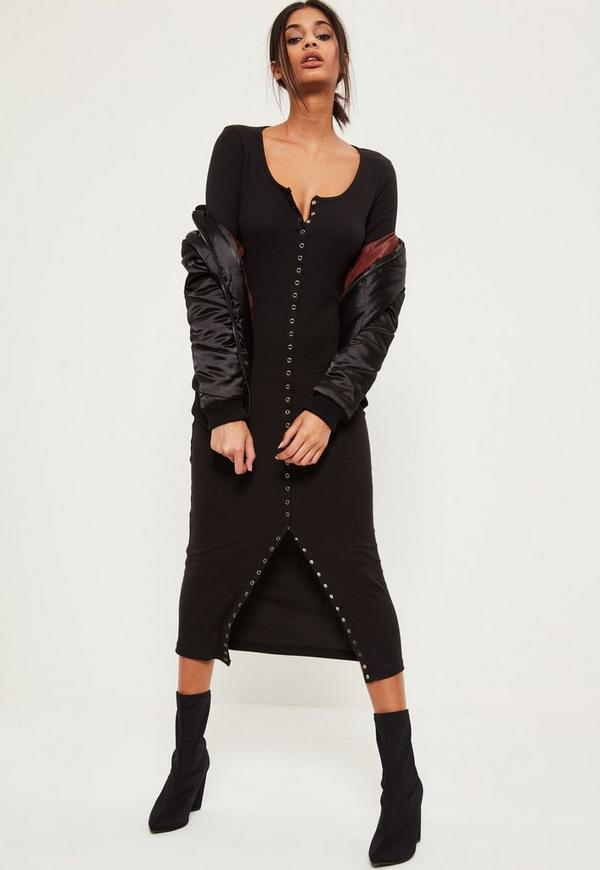 Black Long Sleeve Popper Ribbed Maxi Dress