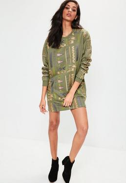Khaki Aztec Embroidered Jumper Dress