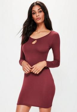 Burgundy Keyhole Long Sleeve Bodycon Dress
