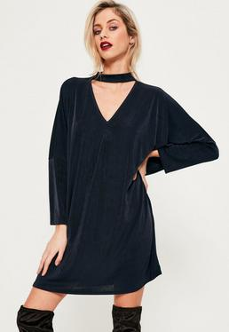 Navy Choker Neck Oversized Slinky Dress