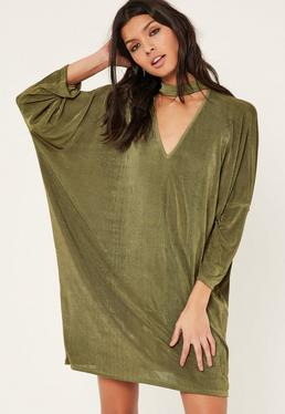 Khaki Oversized Choker Neck Slinky Dress