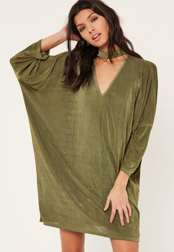 Khaki Oversized Choker Neck Slinky Dress