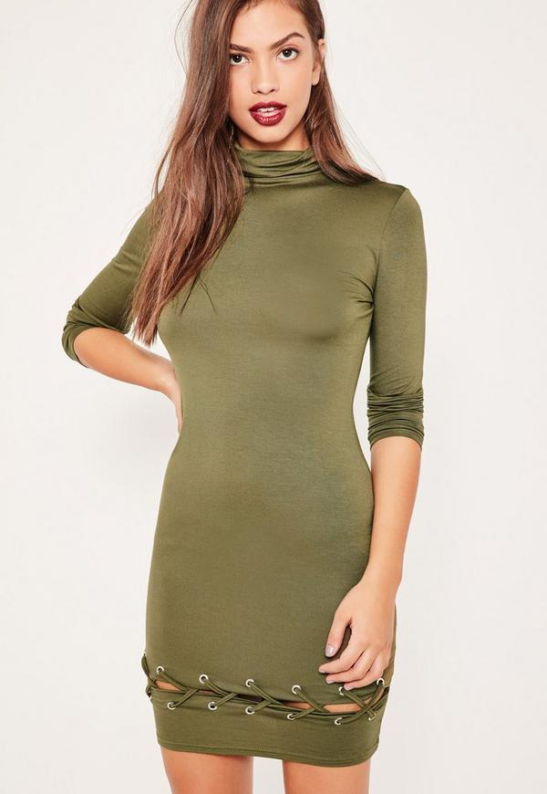 Khaki Lace Up Hem Bodycon Dress
