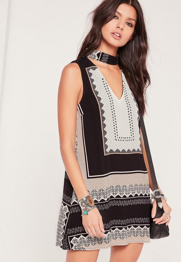 Short Sleeve Choker Neck Printed Dress Black