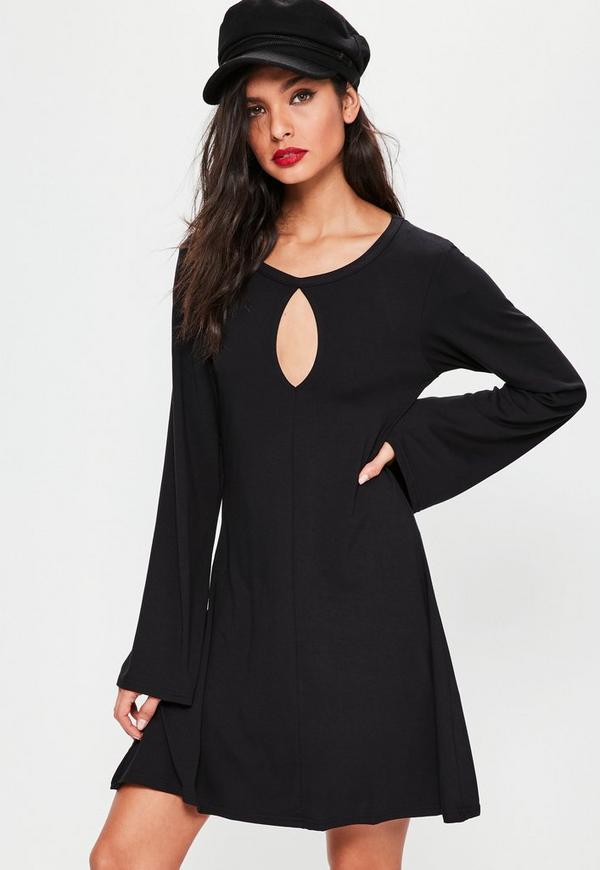 Black Keyhole Flared Sleeve Swing Dress