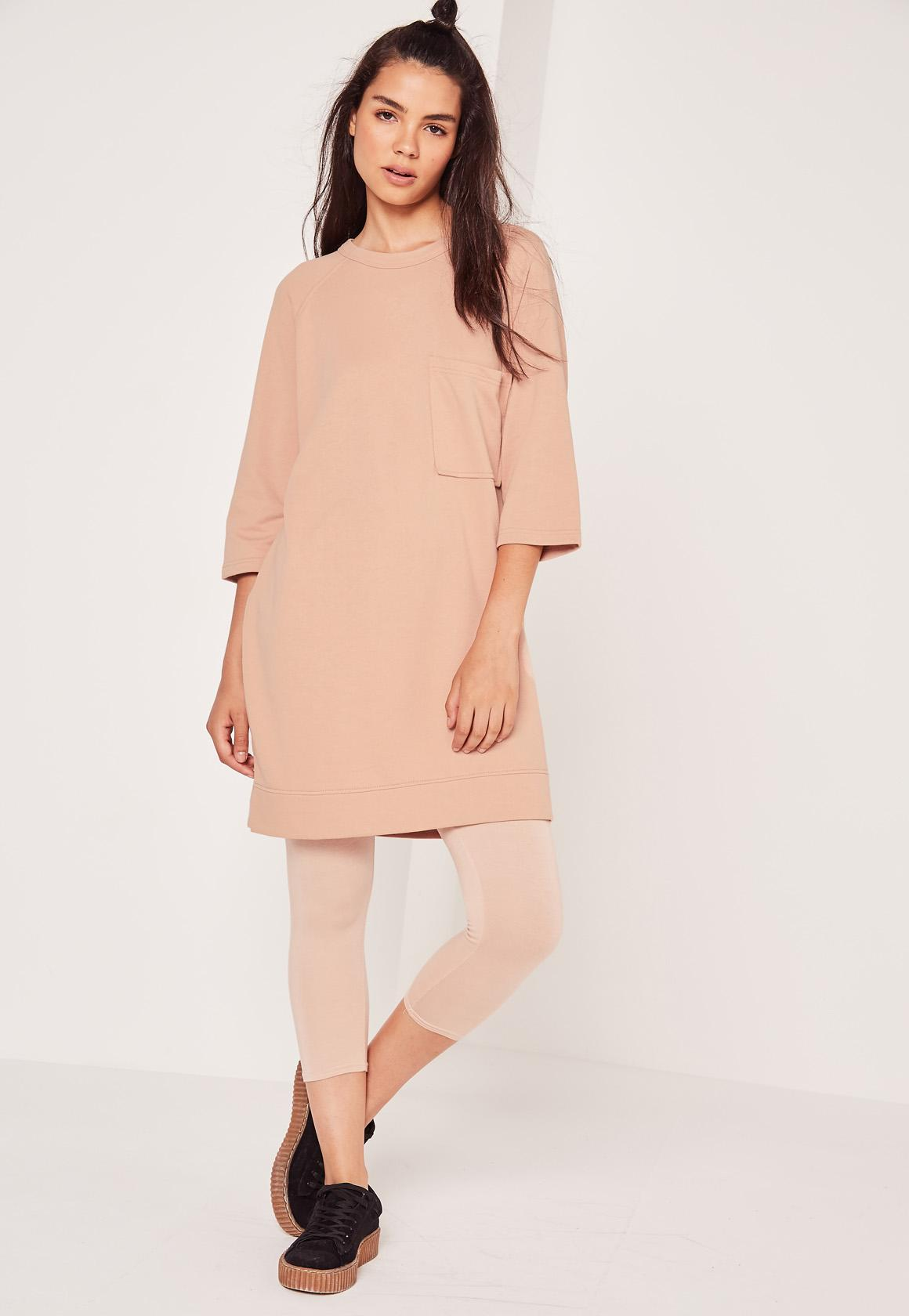 nude oversized pocket sweater dress | Missguided