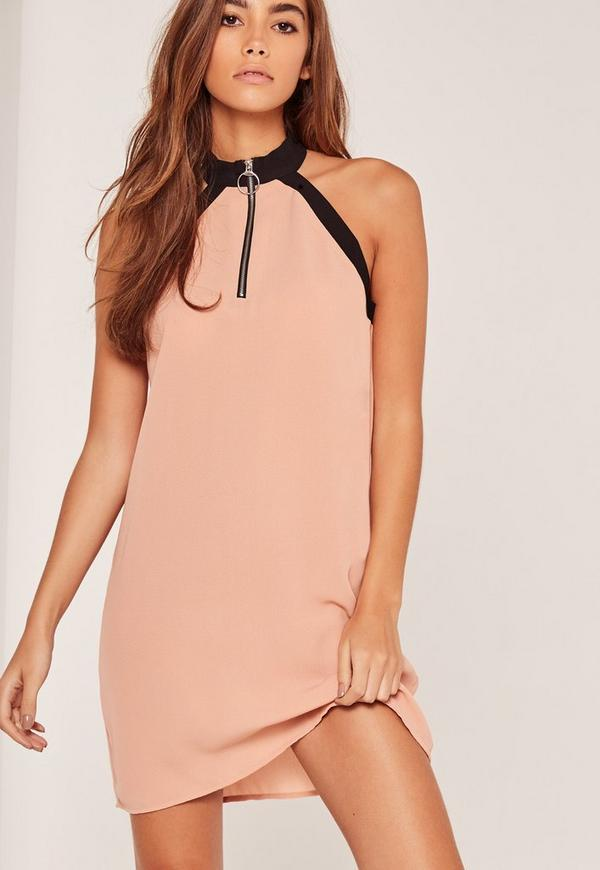D Ring Detail Sleeveless Shift Dress Nude