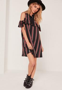 Collar Multi Stripe Ruffle Shift Dress