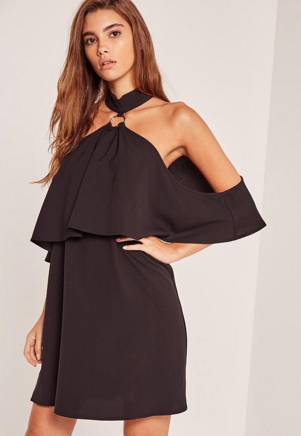 Black Ring Detail Cold Shoulder Swing Dress