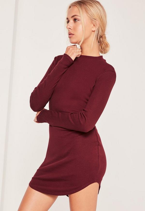 High Neck Curved Hem Bodycon Dress Burgundy