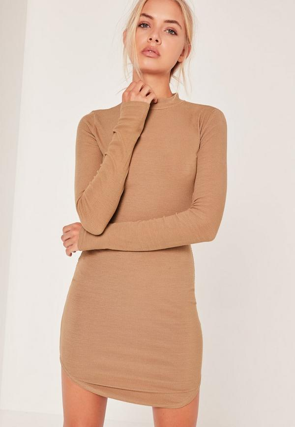 High Neck Curved Hem Bodycon Dress Camel