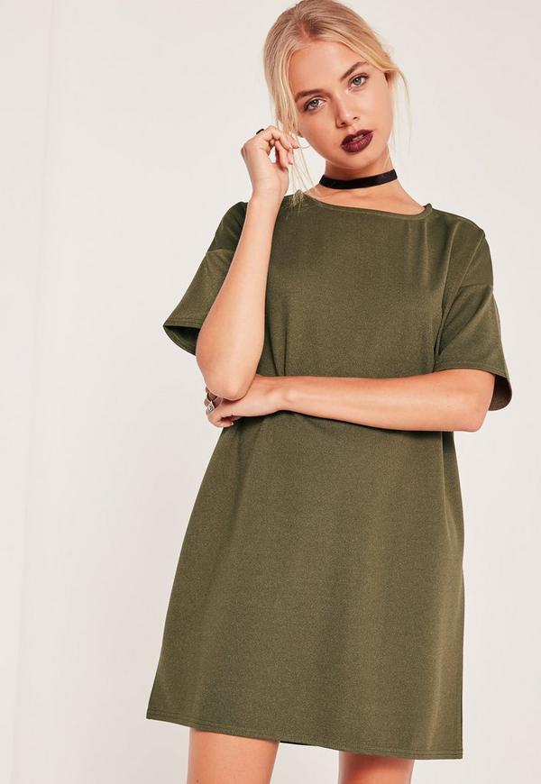 Oversized T-Shirt Dress Khaki