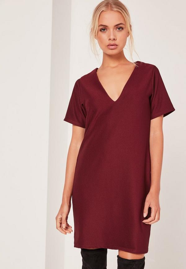 V Neck Plunge Shift Dress Burgundy