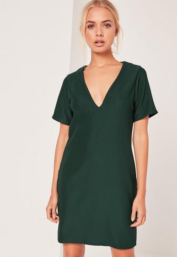 V-Neck Plunge Shift Dress Green