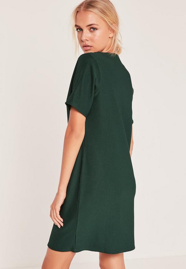 ef5e497e5edd V-Neck Plunge Shift Dress Green