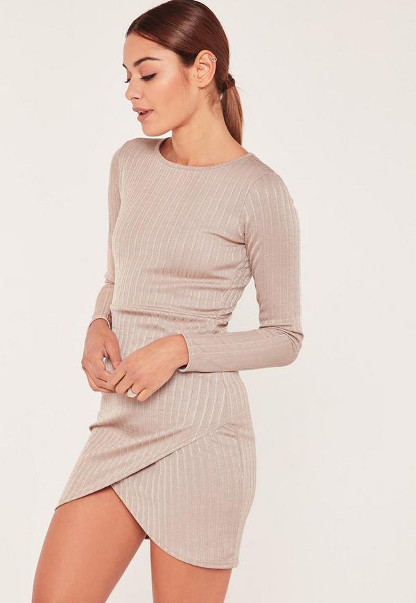 Nude Asymmetric Hem Bodycon Dress