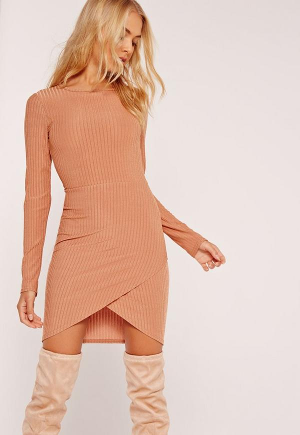 Asymmetric Hem Bodycon Dress Nude