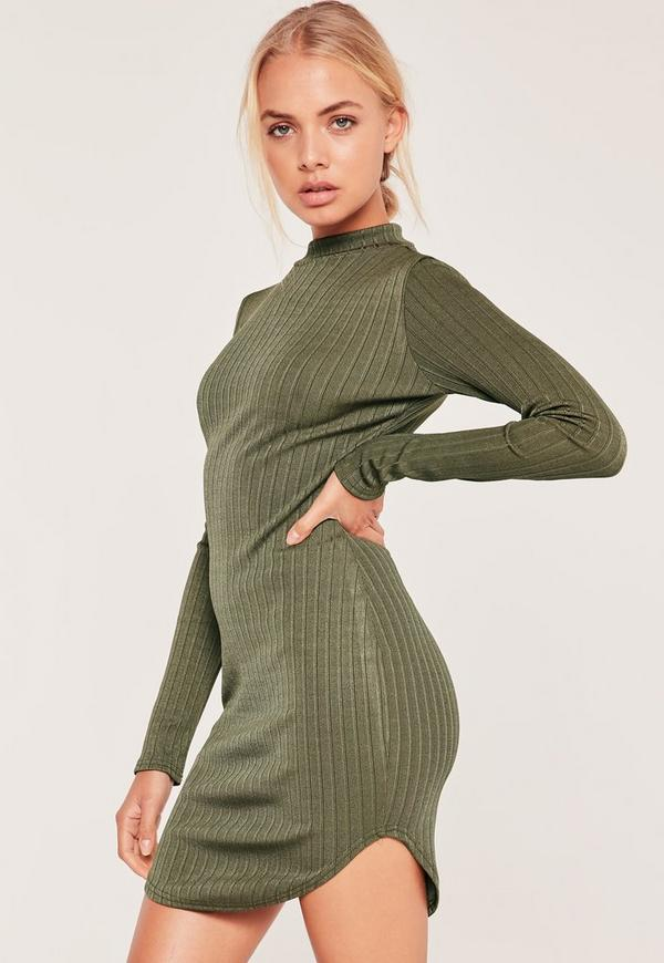 Roll Neck Curve Hem Bodycon Dress Green