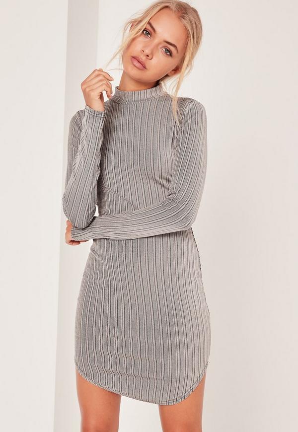 Roll Neck Curve Hem Bodycon Dress Grey