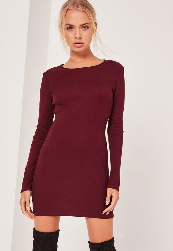 Long Sleeve Bodycon Mini Dress Burgundy