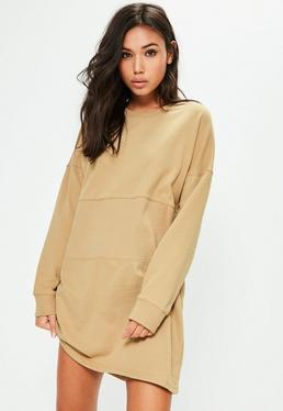 Nude Oversized Panel Sweater Dress