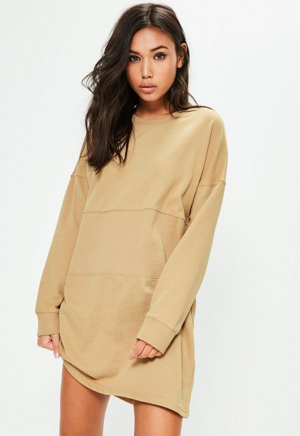 Nude Oversized Panel Sweater Dress