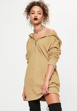 Robe-sweat zippée camel à capuche