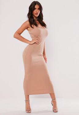 Beżowa prążkowana sukienka maxi na ramiączkach
