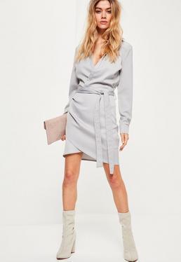 Grey Tie Waist Wrap Dress