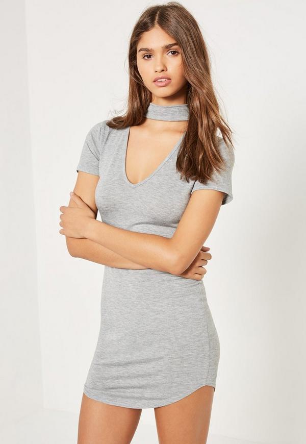 Grey Choker Neck Short Sleeve Bodycon Dress