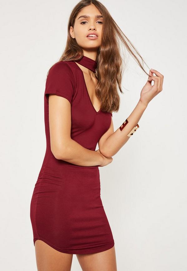 Burgundy Choker Neck Short Sleeve Bodycon Dress
