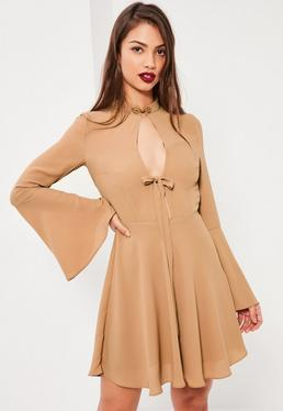 Tan Oriental Button Tie Front Skater Dress