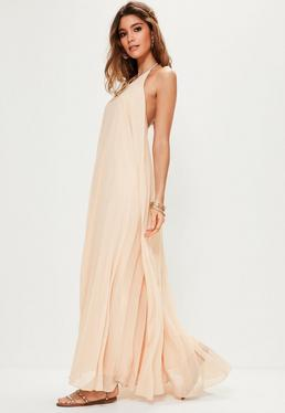 Nude Pleated Maxi Dress