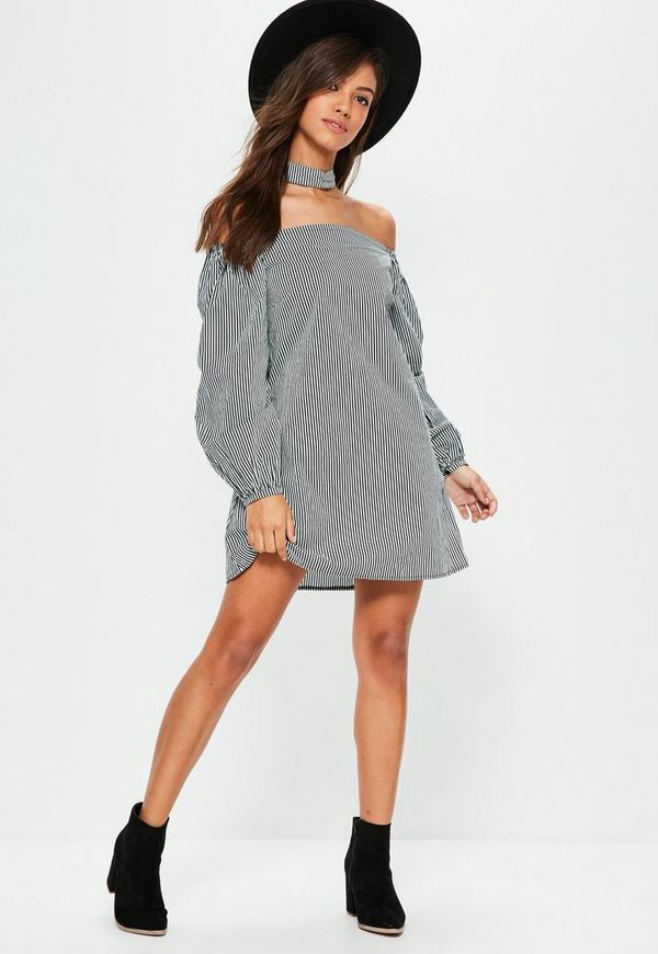 Black Puffed Sleeve Choker Neck Bardot Dress